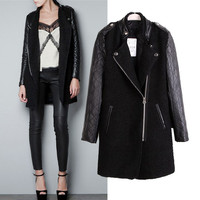 Faux Leather Long Sleeve Trench Coat
