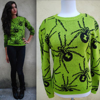 Vintage 1980s Betsey Johnson Black Widow Spider Sweater