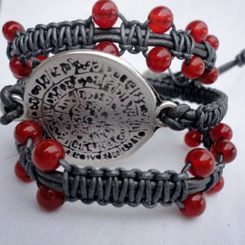 red agate and zamak bracelet macrame,Pulsera
