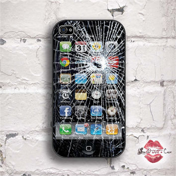 Fake Broken Glass iPhone Gag  iPhone 4 Case by SealedWithaCase