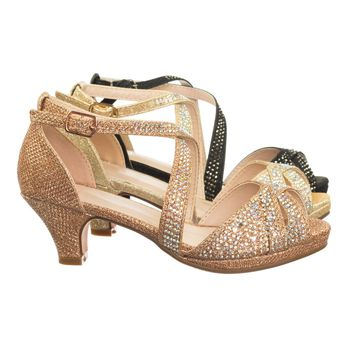 Fantastic90k Children Girl's Bling High Block Heel Dress Sandal w Rhinestone Stud & Glitter