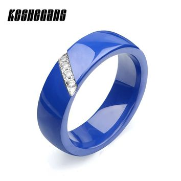 New Arrival Blue Ceramic Ring 6mm Wide Stainless With Shining Crystal Rhinestone For Women Girl Fashion Jewelry Wedding Gift