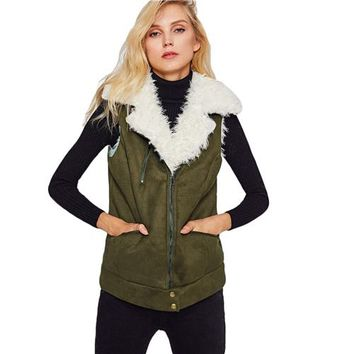 Women Coat Winter Zip Up Faux Shearling Vest Casual Green Womens Fur Vests
