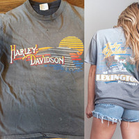 RARE Vintage 50s Harley Davidson Tee S - SUPER Faded & Trashed Harley Tshirt Black | Lexington Kentucky Horse Racing Motorcycle 1950s Harley