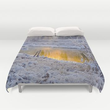 It's Gold Outside Duvet Cover by Mixed Imagery