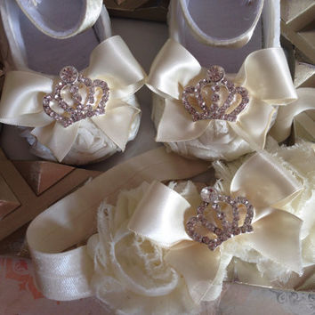 Baby Girl Ivory Satin Rosette shoes and heaband set,Baby Shoes,Christening, Baptism, Wedding