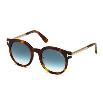 TOM FORD Janina Peaked Sunglasses, Havana