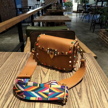 Leather Colorful Crossbody Bag