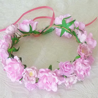 Flower crown Rose headpiece Pink tones mixed size flower head band