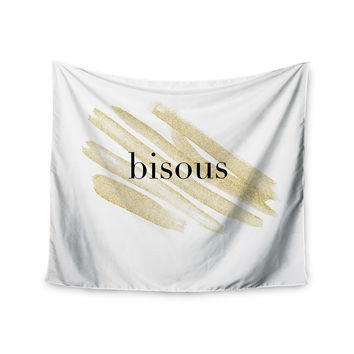 "Chelsea Victoria ""French Kiss"" Gold Love Wall Tapestry"