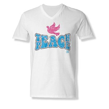 Sassy Frass Teach Peace Dove Bella Canvas V-Neck Bright Girlie T Shirt