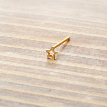 Gold Star Nose Stud Ring Nose Piercing by MidnightsMojo on Etsy