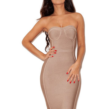 Clothing : Bandage Dresses : 'Oman' Nude Strapless Bandage Dress with Fluted Hem