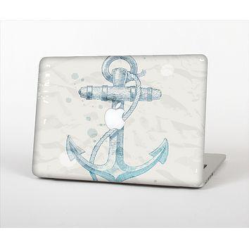 The Vintage White and Blue Anchor Illustration Skin Set for the Apple MacBook Pro 15""