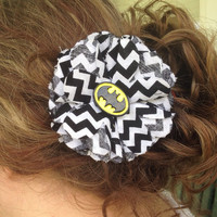 Batman Chevron Flower Hair Clip/Pin, DC Comics, Comic Book, Dark Knight, Superhero, Hair Bow, Geek