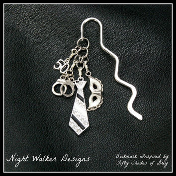 """FIFTY SHADES of GREY Inspired Bookmark - 4 Charms: """"50"""", Handcuffs, Tie, Mask  - 50 Shades of Grey"""