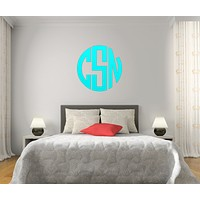 The Solid Turquoise Circle Monogram V1 Wall Decal
