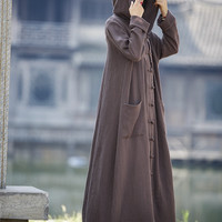 Women Long Sleeve Loose Plus Size Robe Trench Coat 2016 Solid Color Single Breasted Cardigan Vintage Hooded Maxi Trench Coat
