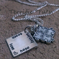 """Autism Awareness """"Teach, Love, Hope, Inspire"""" Hand Stamped Necklace with Puzzle Charm"""