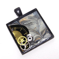 Black & Gold Marbled Steampunk Resin Square Pendant