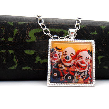 Creepy Clown Picture Pendant  Necklace, Yellow Circus Carnival Jewelry