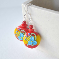 Red Flower Earrings, Floral Earrings, Lampwork Glass Earrings, Colorful Earrings