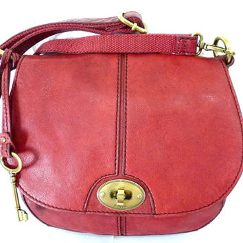 Vintage Authentic Fossil Leather Bag Crossbody Oxblood satchel Flap Bag with Key