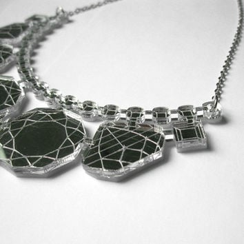 Mirror Laser Cut Statement Necklace - Bib Engraved Geometric Jewels Silver Acrylic Prom Jewelry