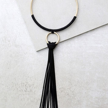 Keep You Around Gold and Black Collar Necklace