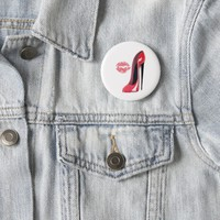 Red Stiletto Shoe and Kiss 6 Cm Round Badge