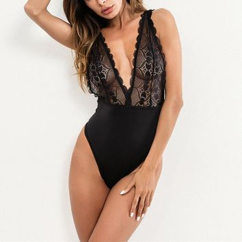New Women Bodysuit One Piece Sexy Deep V Jumpsuits For Women Lace Hollowed Backless Rompers Bodysuit Black S-XXL