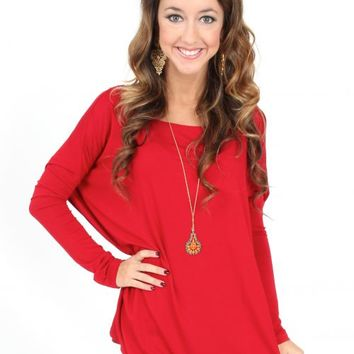 PIKO: Red Love On Top Long Sleeve Tunic | Monday Dress Boutique