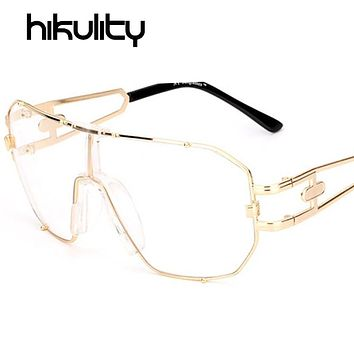 One Piece Oversize Gold Clear Glasses Frame Sexy Cool Women Sunglasses Transparent UV400 Shades Clear Lens Eyeglasses Lunette