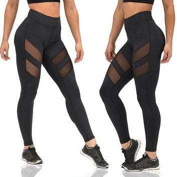 Womens Casual Yoga Sport Leggings Hollow Out Patchword Lace Pants Gift
