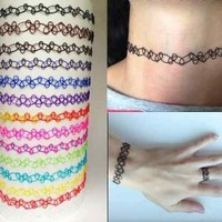 Buy Home Vintage Stretch Tattoo Bracelet Retro Henna Black Purple Elastic 80s 90s (Black)