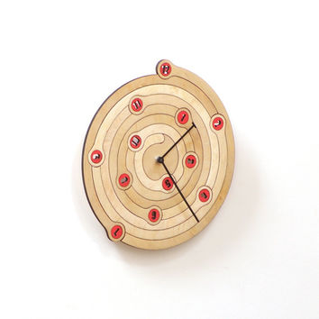 Spiral - unique wall clock made of wood, wooden clock