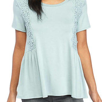 love, Fire Short Sleeve Peplum Crochet Top