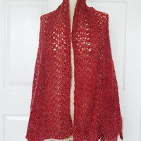 Large Mohair Shawl, Large Hand Knit Mohair Wrap, Hand Knit Mohair Stole, Lace Mohair Large Scarf, Raspberry Mohair Scarf