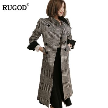 RUGOD new 2017 Winter trench Coat Women Warm Cotton-padded Wool Coat Long Women's Cashmere Coat Fashion plaid Jacket Outwear