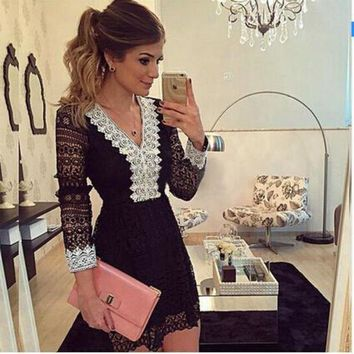 DCCKIHN 2017 new fashion women's A-line Dress sexy black hollow out dress casual lace with long sleeve mini dess