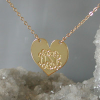 Gold Monogrammed Heart Necklace- 1.25 inch Personalized Pendant -18k Gold Plated