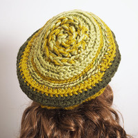 Woman knit hat - Chunky knit hat - Slouchy beanie - Green hat - Rasta hat - Olive hat - Dread hat - Winter hat - Teen hat Crochet beret -