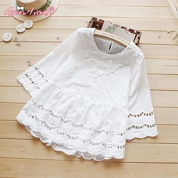 Summer new style women blouse mori girl hollow out crochet lace cotton white shirt sweet princess tops Blusas femininos S-XXL