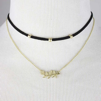 Black Double Leaf Choker