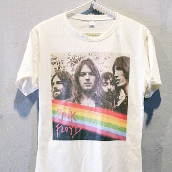 Pink Floyd Shirt Progressive Rock Women T-Shirt Off White Size M