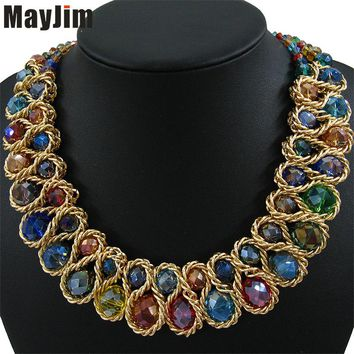 Statement Fashion Necklace for Women 2017 Vintage Collar Gold Chain Big Double Bead Crystal Choker Necklaces & Pendants Bijoux