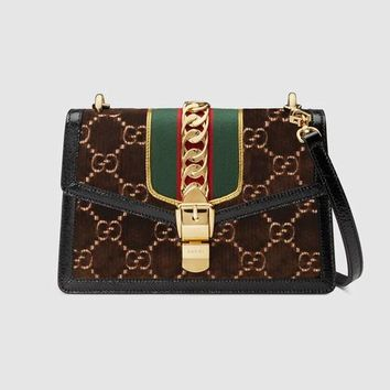 Gucci Sylvie GG velvet small shoulder bag