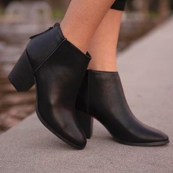 Avalon Closed Toe Booties in Black