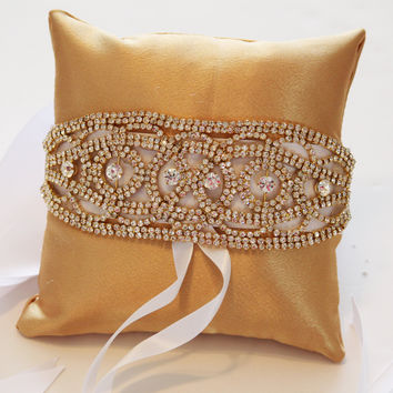 Gold Pillow Ring for Dogs, Gold Rhinestone Gold Pillow, Wedding Dog Accessory, Ring Bearer Pillow