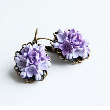 Earrings - Lavender ,lilac, Jewelry,  Gift, vintage accessories,earrings, earrings with flowers,purple earrings, ornament for the ears